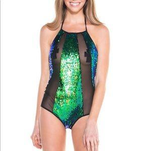 Sequin and mesh bodysuit